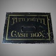 Antique Advertising Tutti Frutti Gum Cash Box,  Toleware Tin