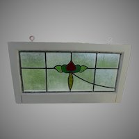 Antique Art Nouveau Stained Glass Window, Architectural, Tudor