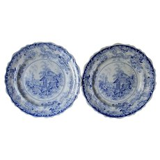 Pair Antique c1830s Genevese Staffordshire, Transfer Plates, Clews
