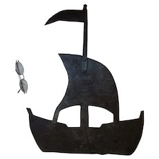 Antique Nautical Folk Art Sheet metal Weathervane of a Sailing Ship