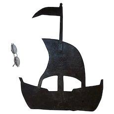 Antique Nautical Folk Art Sheet metal Weathervane of a Sailing Ship