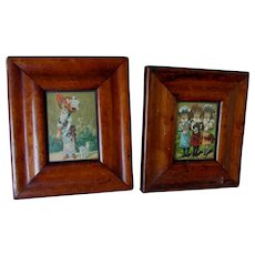 PR Antique Circa 1840s Picture Frames, Miniature Painting, Silhouette