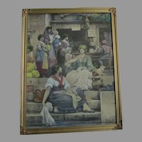 1896 Antique Print, The Venetians, Sir Luke Fildes, Hand Colored Etching