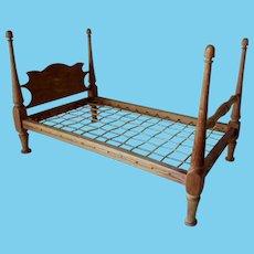 Old Primitive, Folk Art, Miniature, Doll Rope Bed, Pencil Post
