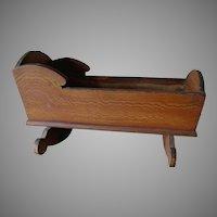Antique Grain Painted Doll Cradle, Primitive Miniature Doll Furniture