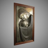 Mid Century Bas Relief, Madonna & Child, Christianity Plaque