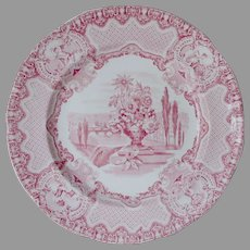 Antique c1833 Copeland & Garrett Transfer Plate, Florence, November, Cherubs