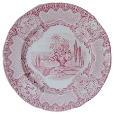 Antique c1833 Copeland & Garrett Transfer Plate, Florence, November, Cherubs