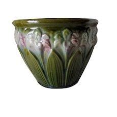 Antique Art Nouveau, Art Pottery Jardinière, Planter with Iris Flowers