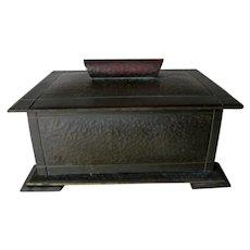 Antique Arts & Crafts Hand Hammered Copper Box, Desk Accessory
