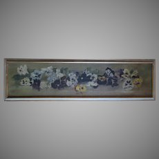 Antique 19th Century Victorian Yard Long Oil Painting of Pansy Flowers