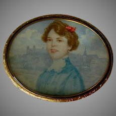 Lovely Hand Painted Miniature Portrait, Edwardian Lady in Blue Dress