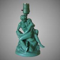 Antique c1920s Art Deco Lamp of Nude Lovers, Armor Bronze