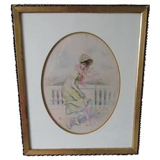 Lovely Victorian Watercolor Painting, Lady with Parasol
