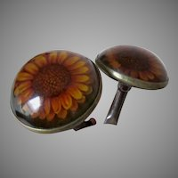 Antique Sunflower Aesthetic Movement Picture Hooks, Curtain Tiebacks