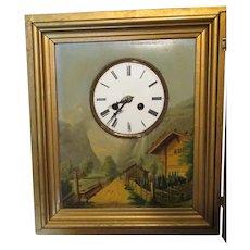 Antique European Picture Clock with Oil Painting, Landscape
