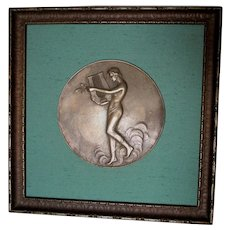 Antique Art Nouveau Bronze Plaque of Nude Lady with Lyre, Signed Roth