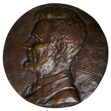 Circa 1926 Abraham Lincoln Bronze Plaque, Signed Adrian Paul Brodeur