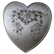 Vintage Heart Shaped Sterling Silver Ladies Compact, Engraved Flowers
