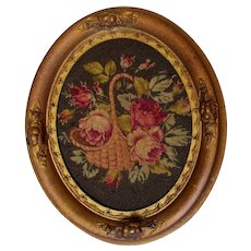 Pretty Antique Petit Point of a Basket of Roses