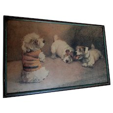 Adorable Art Deco Print, 3 Terrier Dogs, One in Fashion Sweater