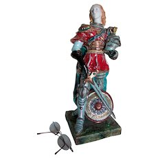 Italian Majolica Knight in Armor, Signed Professor Pattarino