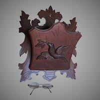 Antique Circa 1880s Victorian Bird, Hand Carved Wall Pocket