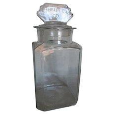 Antique c1915 Franklin Caro Gum Advertising Display Jar Richmond Virginia