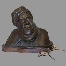 Vintage Bronze Bust, Sculpture of an Arab Gentleman
