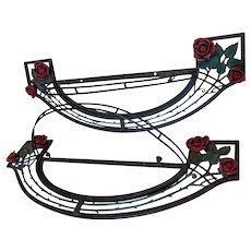 Pair Art Deco Wrought Iron Theater Wall Sconces, Garden Window Boxes
