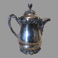 Antique Art Nouveau Silverplate Water Pitcher, Water Lilies, Cattails