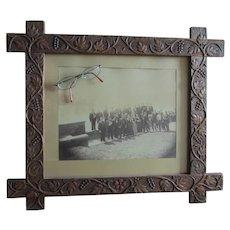 Antique Hand Carved Folk Art Picture Frame, Grape Vines, GAR Photo