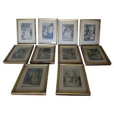 Set 10 Miniature French Engravings, Hand Colored Prints, Gilt Picture Frames