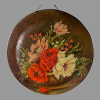 Lovely Antique Hand Painted Toleware Charger, Tole Flue Cover