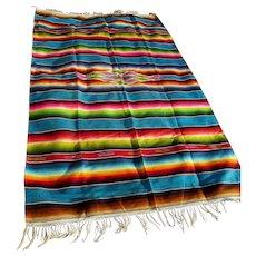 Fine Old Circa 1920s Mexican Saltillo, Serape Blanket, Tablecloth , Hand Woven Wool