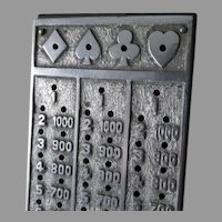 Unusual Antique Cribbage Board with Numbers, Card Suites, Nickel Plate