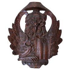 Italian, Florentine Plaque Of Saint Marks Lion, Latin, Hand Carved