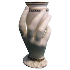 Antique Circa 1864 Worcester Parian Porcelain Ladies Hand Vase