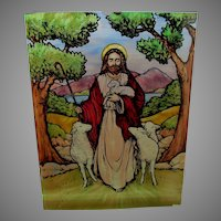 Antique Hand Painted, Enamel Stained Glass Window, Jesus, Lamb, Sheep