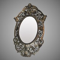 Beautiful Antique Circa 1880s Wall Mirror with Angel, Gargoyles, Northwind Faces