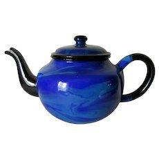 Rare Antique End of Day Teal & Cobalt Blue Swirl Agateware Teapot