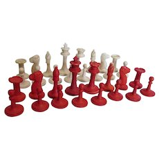 Antique Hand Carved Chess Set, Board Game Pieces