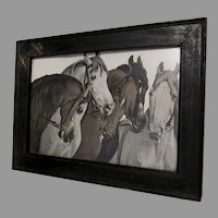 Antique Arts & Crafts Print of Horses with Embellished Western Frame