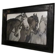 Antique Arts & Crafts Print of Horses with Embellished Western Frame