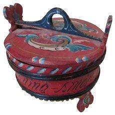 Folk Art Norwegian Folk Art Porridge Container, Grotambar Box
