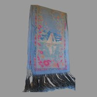 Circa 1920s Silk Scarf, Shawl with Sailboat, Nautical Motif & Fringe