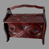 Antique Hand Carved Folk Art Lift Top Box, Sewing, Chip Carved