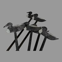 Set of 6 Antique Folk Art, Tin Duck Decoys, Hand Painting, Hunting