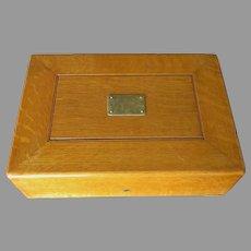 Antique c1896 Golden Oak Silverware Chest, Silver Storage Box