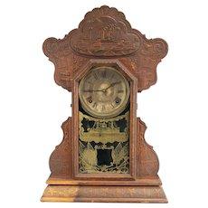 Antique Shelf Clock Spanish American War, USS Maine, Ingraham